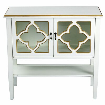 2 Door Console Acccent Cabinet Color: Antique White/Gold