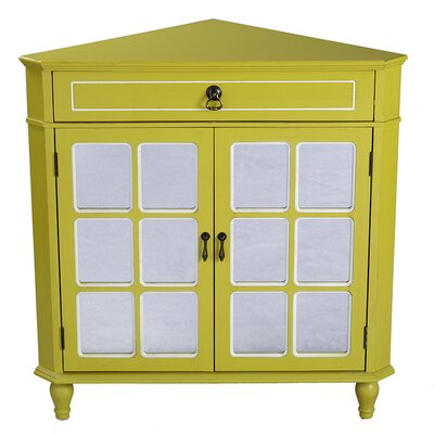 1 Drawer 2 Door Acccent Cabinet Color: Yellow