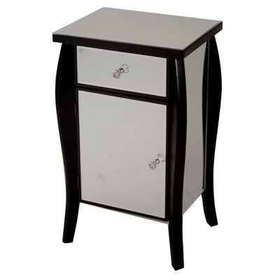 1 Drawer 1 Door Bombay Accent Cabinet Color: Black
