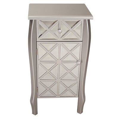 1 Drawer 1 Door Bombay Accent Cabinet Color: Silver