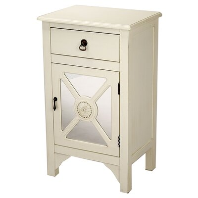 Wooden Accent Cabinet with Mirror Insert Color: Antique White