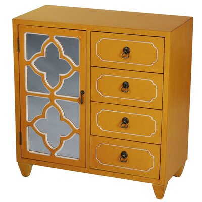 4 Drawer Accent Cabinet Color: Yellow