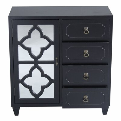 4 Drawer Accent Cabinet Color: Black