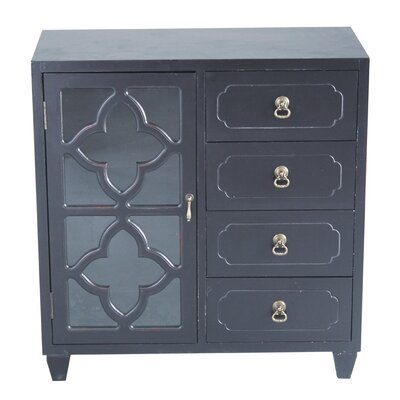 4 Drawer Accent Cabinet Finish: Black