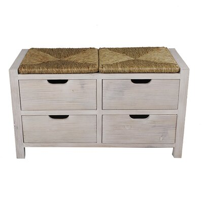 "Gearhart Wood Storage Bench Color: White Wash/Natural, Size: 20.1"" H x 31.9"" W x 15"" D"