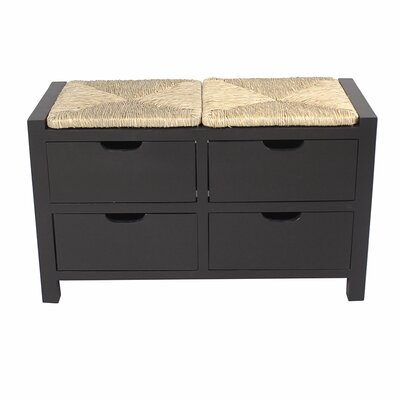 "Gearhart Wood Storage Bench Color: Black/Natural, Size: 20.1"" H x 31.9"" W x 15"" D"