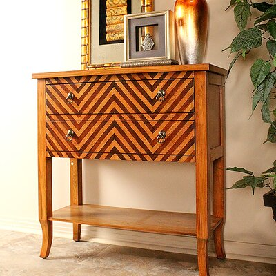 Heirloom Woodtone Chevron 2 Drawer Accent Chest