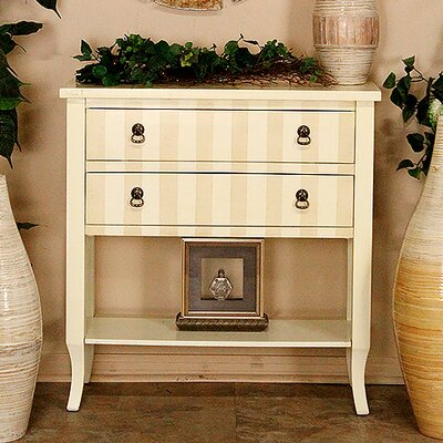 Heirloom Beige/Crme Stripe 2 Drawer Accent Chest