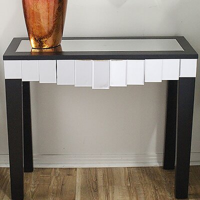 Catherine Mirrored Console Table Color: Black