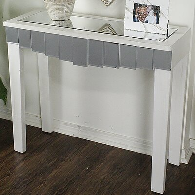 Catherine Mirrored Console Table Color: Antique White