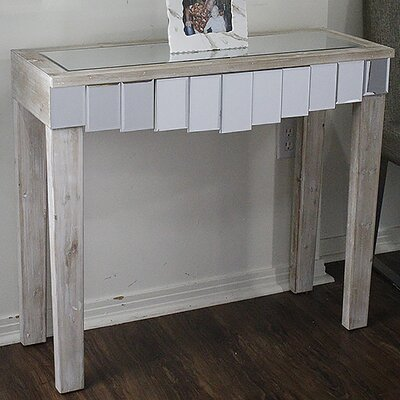 Catherine Mirrored Console Table Color: White Wash