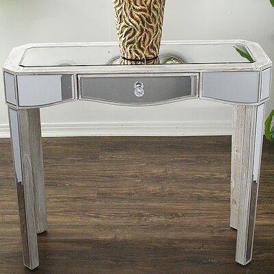 Elizabeth Mirrored Console Table Color: White Wash
