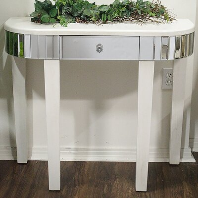 Elenor Mirrored Console Table Color: Antique White