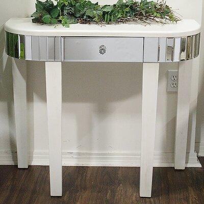 Elenor Mirrored Console Table Color: Antique White