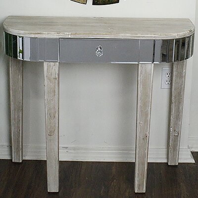 Elenor Mirrored Console Table Color: White Wash
