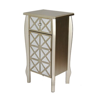 1 Drawer 1 Door Bombay Accent Cabinet Color: Golden Champagne