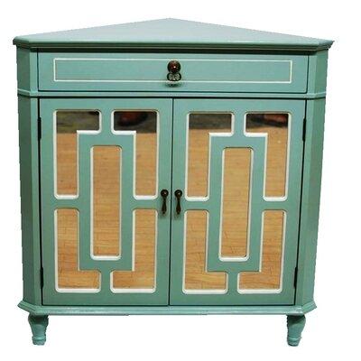 2 Door Accent Cabinet Color: Aqua/White Trim