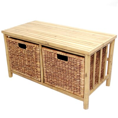 Annapolis Bamboo Storage Bench Color: Natural/Brown