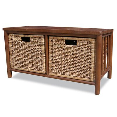 Annapolis Bamboo Storage Bench Color: Brown/Dark Brown