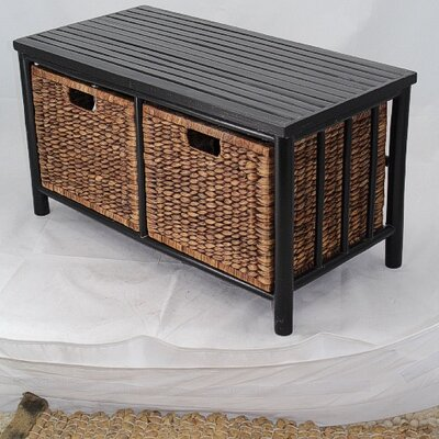 Annapolis Bamboo Storage Bench Color: Black/Brown