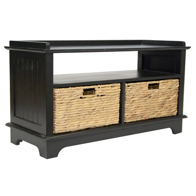 Wood Storage Bench Color: Black