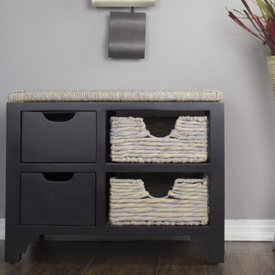 Gean Wood Storage Bench Color: Black/Seagrass