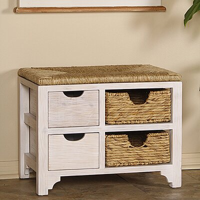 Gean Wood Storage Bench Color: White Wash/Natural