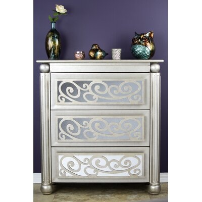 Alleyne 3 Drawer Accent Chest Color: Antique Silver W/ Gold
