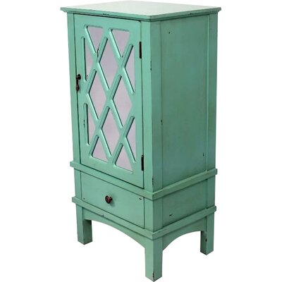 Wooden Accent Cabinet with Mirror Insert Color: Tourquoise