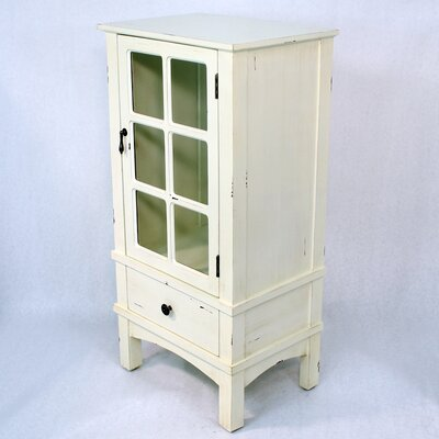Wooden Accent Cabinet with Glass Insert Color: Antique White