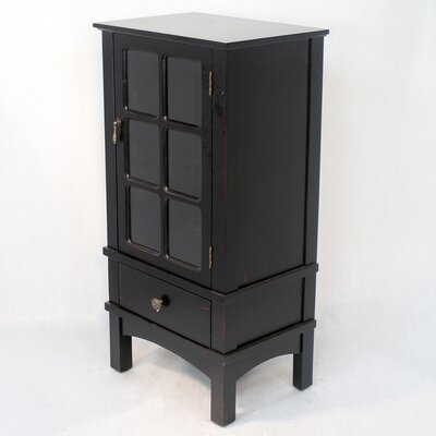 Wooden Accent Cabinet with Glass Insert Color: Black