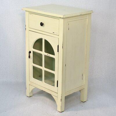 Wooden Accent Cabinet with Glass Insert Color: White