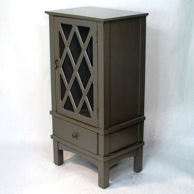 Wooden Accent Cabinet with Glass Insert Color: Dark Gray