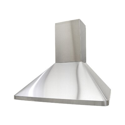 "36"" Deluxe 700 CFM Ducted Wall Mount Range Hood Height: 56.25"""