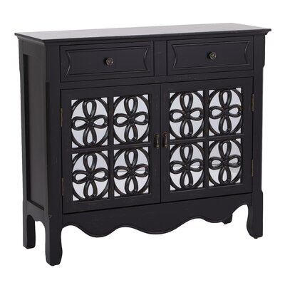 Molly 2 Door 2 Drawer Accent Cabinet Color: Brushed Black