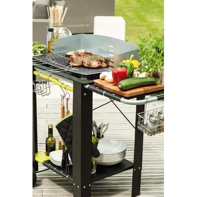 cook in garden Caldeira Charcoal Barbecue with Side Shelf