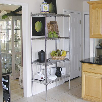 "Wire Storage 4 Shelf Shelving Unit Kit Size: 74"" H x 48"" W x 14"" D"