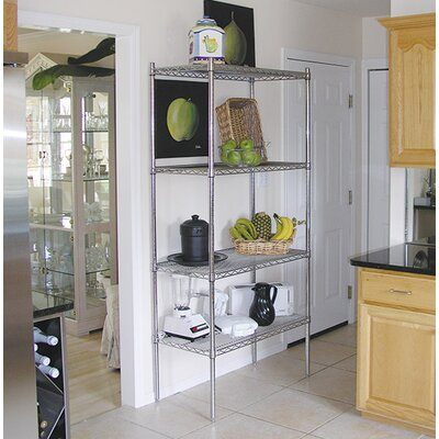 "Wire Storage 4 Shelf Shelving Unit Kit Size: 74"" H x 48"" W x 24"" D"
