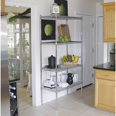 "Wire Storage 4 Shelf Shelving Unit Kit Size: 74"" H x 60"" W x 24"" D"