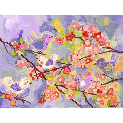 """Hank Birdies Canvas Canvas Art Color: Lavender/Coral, Size: 18"""" H x 24"""" W x 1.5"""" D"""
