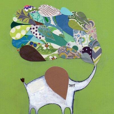 Lucky Elephant Green Canvas Art