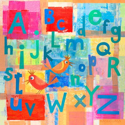 "Alphabet with Kooky Birds Canvas Art Size: 21"" H x 21"" W x 1.5"" D"