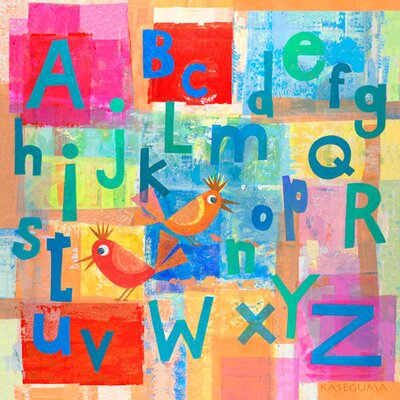 "Alphabet with Kooky Birds Canvas Art Size: 14"" H x 14"" W x 1.5"" D"