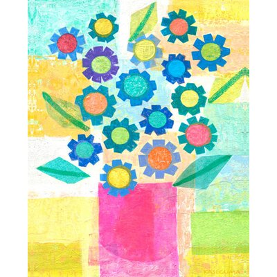 Blue Flowers in Pink Pot Canvas Art