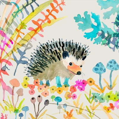 """'Woodland Watercolor - Hedgehog' by Betsy Olmsted Stretched Canvas Art Size: 10"""" H x 10"""" W x 1.5"""" D"""