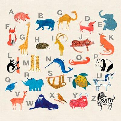 "'Colorful Animal Alphabet' by Bonnie Dain Stretched Canvas Art Size: 24"" H x 24"" W x 1.5"" D"