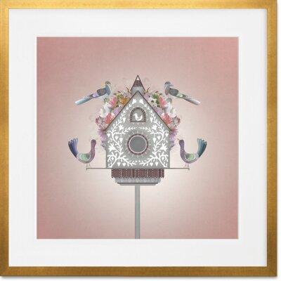 "Taipa Floral Bird House by Harriet Mellor Framed Art Frame Color: Gold Leaf, Size: 14"" H x 14"" W x 0.5"" D"