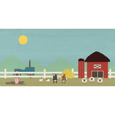 """Davon Down On The Farm Stretched Canvas Art Size: 15"""" H x 30"""" W"""