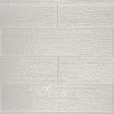 "Linen Textured 3"" x 12"" Glass Subway Tile in Snow"