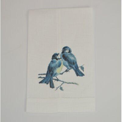 Hemstitched Bird Pair Linen Hand Towel (Set of 2)